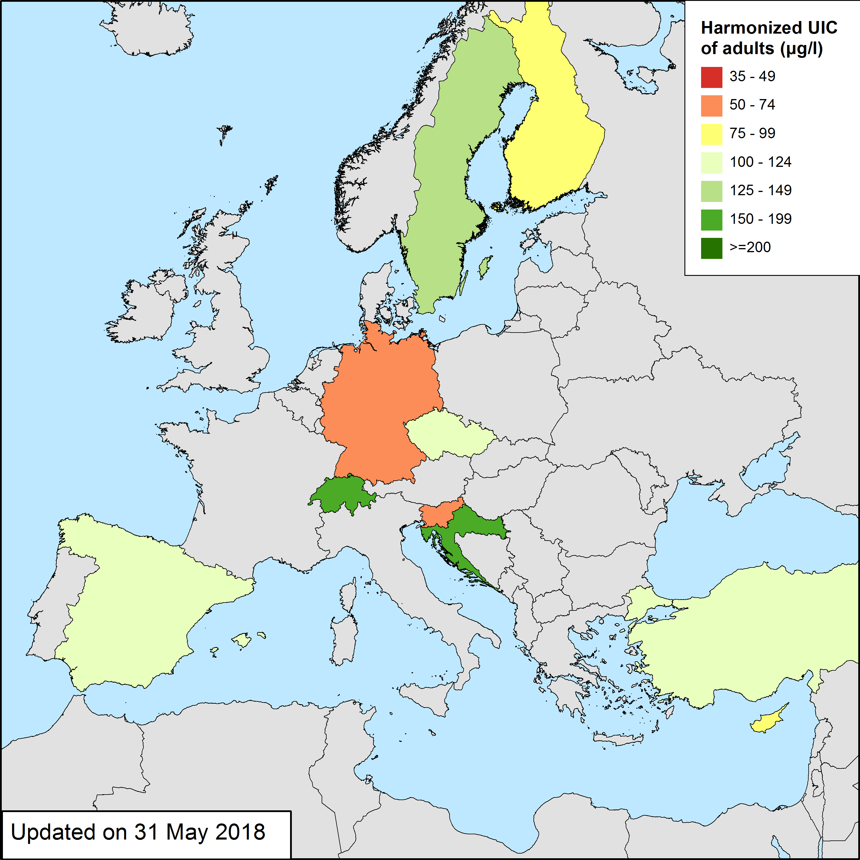 Updated Map Of Europe.Data Analysis Maps Euthyroid Project